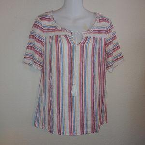 Lands end linen striped blouse Tassle tie detail